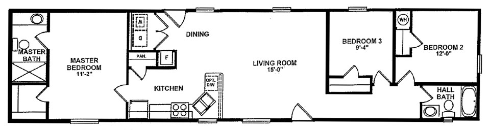 Singlewide mobile homes from clh commercial for 16 x 70 mobile home floor plans