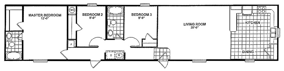 Singlewide mobile homes from clh commercial for 16 x 80 mobile home floor plans