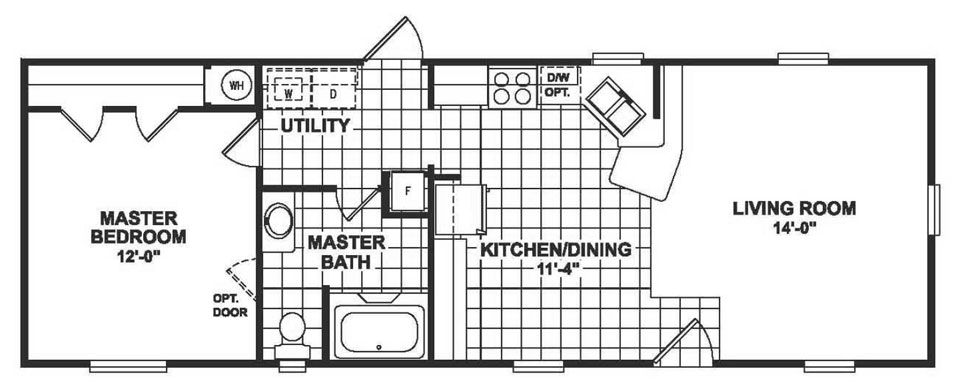 Single wide mobile home floor plans 1 bedroom for 1 bed 1 bath mobile homes