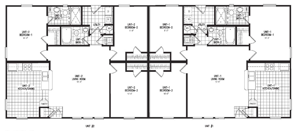Model of duplex small house plans modern for Modular duplex
